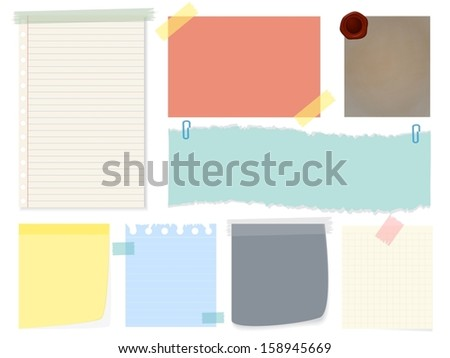 Eps10 illustration : Paper notes collection - stock vector