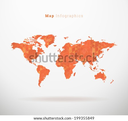 EPS10 paper design world map with triangle pattern for infographics, web site background, report- orange version - stock vector
