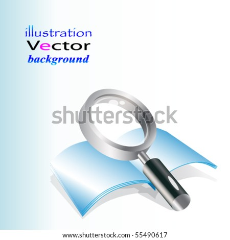 Eps realistic vector magnifying glass and notebook. - stock vector