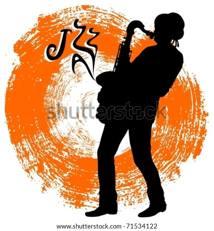 EPS10, Saxophonist on a grunge background - stock vector
