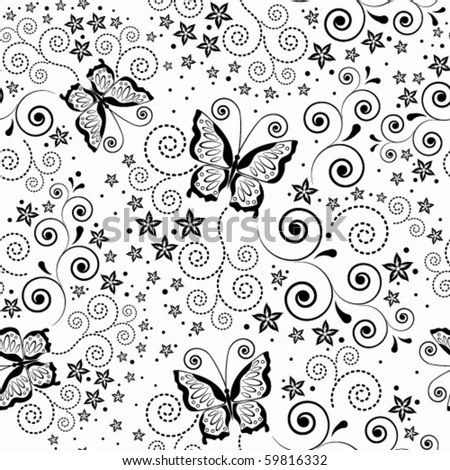 Eps Seamless background with butterflies. - stock vector
