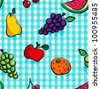EPS 10: Seamless collection of grungy, crude, rough outline hand drawn fruits with shadows over light blue gingham pattern, perfect picnic table cloth. - stock photo