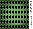 EPS 10: Seamless harlequin or argyle pattern made of black diamonds with white border over green background. - stock vector