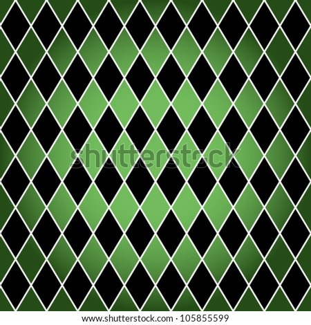 EPS 10: Seamless harlequin or argyle pattern made of black diamonds with white border over green background.