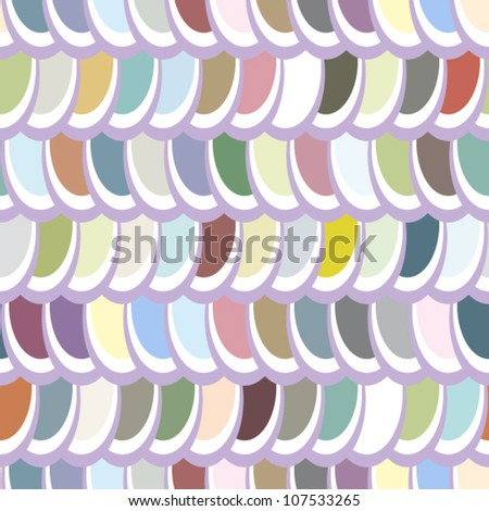 EPS 10: Seamless pattern, fun and dynamic multicolor elliptic pattern in shades of grey an blue, great wallpaper. - stock vector