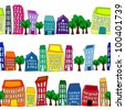 EPS 10: Seamless pattern of colorful crooked cartoon buildings on white background, fun cityscape borders or wallpaper. - stock vector