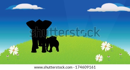 Eps 10 Set of editable vector silhouettes of African elephants in default poses - stock vector