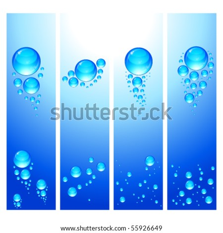 Eps Set of vertical banners with water bubbles. - stock vector