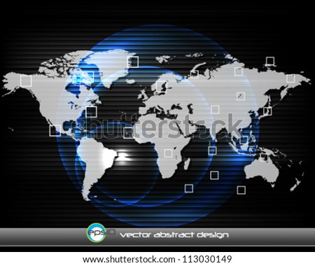 eps10 vector abstract corporate background with detailed world map - stock vector