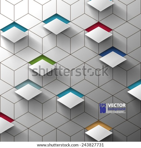 eps 10 vector abstract 3D geometric metallic background futuristic design  - stock vector