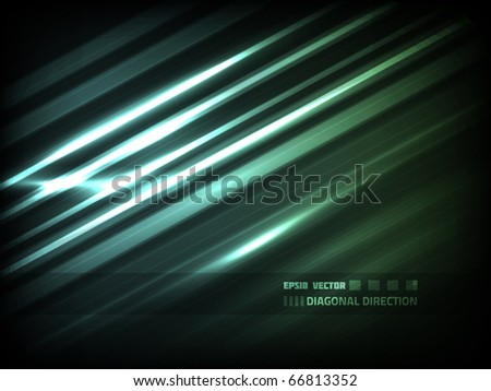 EPS10 vector abstract diagonal high-tech lines design against black background; composition is colored in blue and green - stock vector