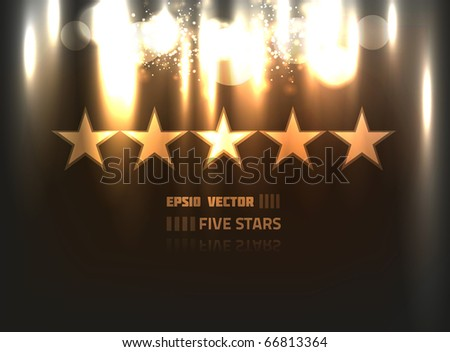 EPS10 vector abstract five stars design against black background; composition has bright lights and blurry particles