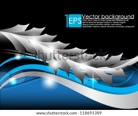eps10 vector abstract floral and wave background - stock vector