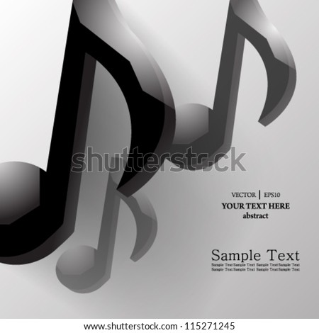 eps10 vector abstract glossy music note concept background design - stock vector