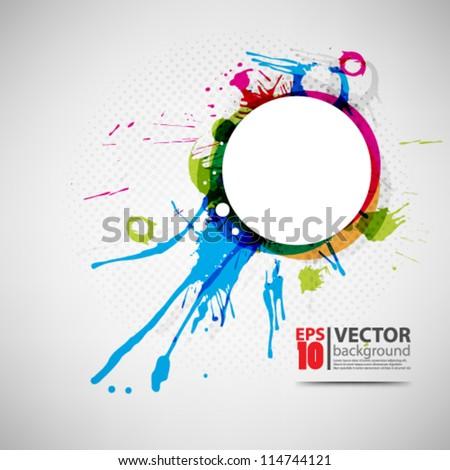 eps10 vector abstract ink splatter background design - stock vector