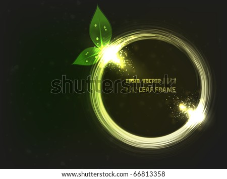 EPS10 vector abstract leaf frame design on dark background with slight texture. Composition has bright lights, similar to lens flare.
