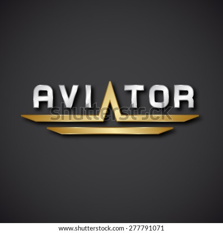 EPS10 vector aircraft aviator inscription icon - stock vector