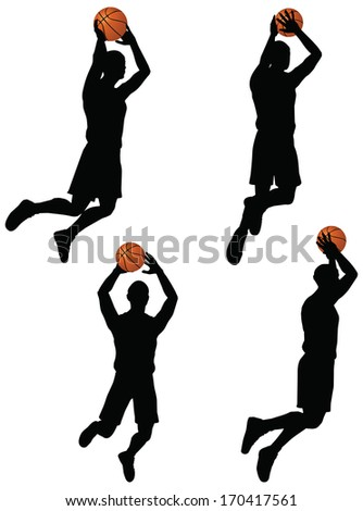 EPS 10 vector basketball players silhouette collection in slam position - stock vector