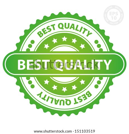 EPS10 Vector : Best Quality Rubber Stamp (Sticker, Tag, Icon, Symbol) with green color, isolated on white background  - stock vector