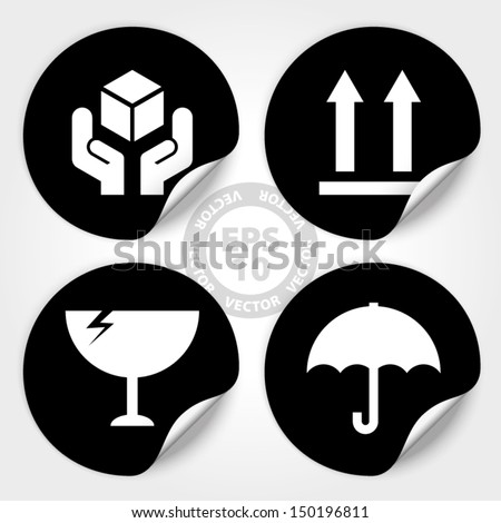 EPS10 Vector : Black Fragile Circle Stickers and Tags (Fragile icon, Handle with care icon, Keep dry icon, This side up icon) - stock vector