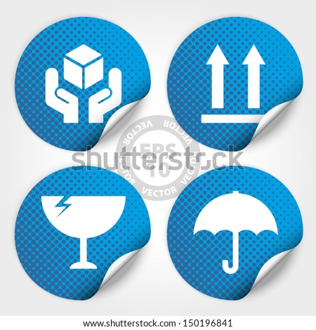EPS10 Vector : Blue Fragile Circle Stickers and Tags with Dot(Fragile icon, Handle with care icon, Keep dry icon, This side up icon) - stock vector