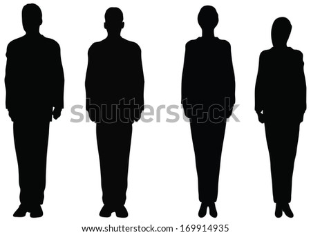 EPS 10 Vector. Business people standing still in silhouette. - stock vector