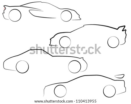 EPS10 Vector Car Outlines - stock vector