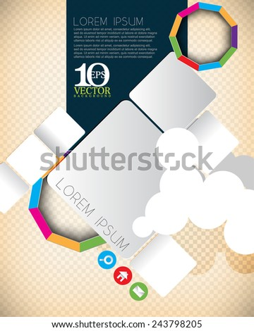 eps10 vector cartoon geometric rectangle objects and multicolored nonagon ring with cloud elements background design - stock vector