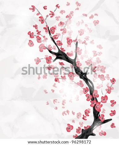 EPS 10 vector - cherry blossom branch painted in an oriental style with space for text - stock vector