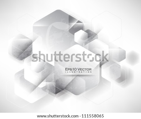 eps10 vector chrome hexagon shape abstract background illustration - stock vector