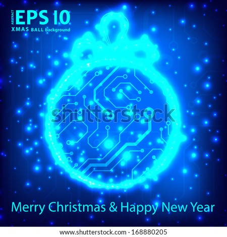 EPS10 vector circuit board ball christmas background texture