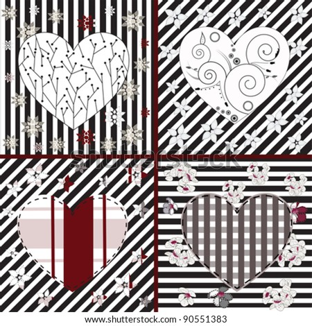 EPS 10 vector - collection of artistic hearts in different styles - stock vector