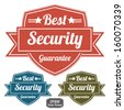 EPS10/Vector : Colorful Vintage Style Best Security Guarantee Badge or Label Set Isolated on White Background - stock vector