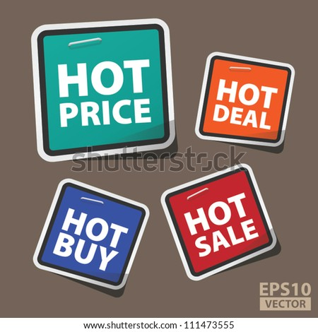 EPS10 Vector: Cute Hot Price Square Tags with Hot Deal, Hot Sale, Hot Buy