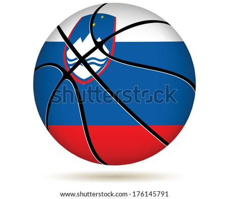 EPS 10 Vector. 3D basket ball with Slovenia flag on white. - stock vector