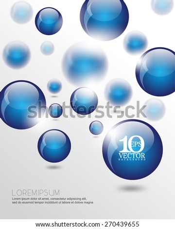eps10 vector 3d floating blue round sphere orb business elements background - stock vector