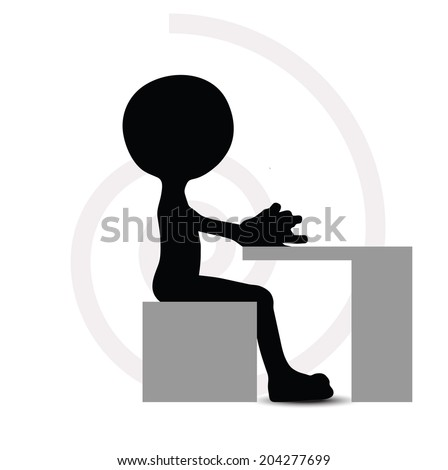 EPS Vector 10 - 3d man in typing pose