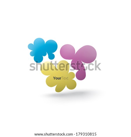 Eps10 vector design of a cmyk color concept edition of three cloud - stain - drip composition with a simple 3d minimal shadow, colorful curvy shapes for brochure infographics and web banner design - stock vector
