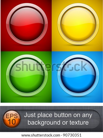 Eps10 vector. Different blending layer modes were used. Transparent glass border. You can easy place button on any background or texture. - stock vector