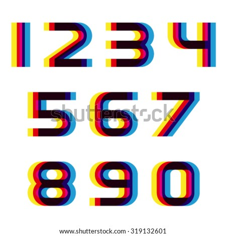 EPS10 vector distortion blur font numbers - stock vector