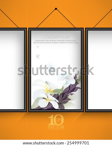 eps10 vector elegant hanging frame with flowers and leaves elements on white background and orange wall - stock vector