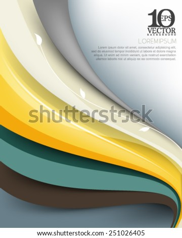 eps10 vector elegant multicolor business wave lines elements background illustration with silhouette stem and leaves - stock vector