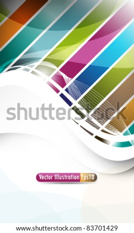 eps10 vector elegant waves in multicolor stripes - stock vector