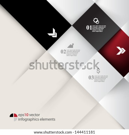 eps10 vector embossed squares infographics background - stock vector