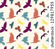 EPS 10 vector file. Colourful birds silhouettes seamless pattern. Raster version available in my portfolio - stock vector