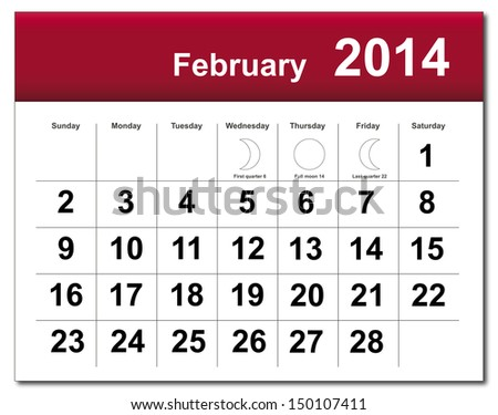 EPS10 vector file. February 2014 calendar. The EPS file includes the version in blue, green and black in different layers. Raster version available in my portfolio. - stock vector