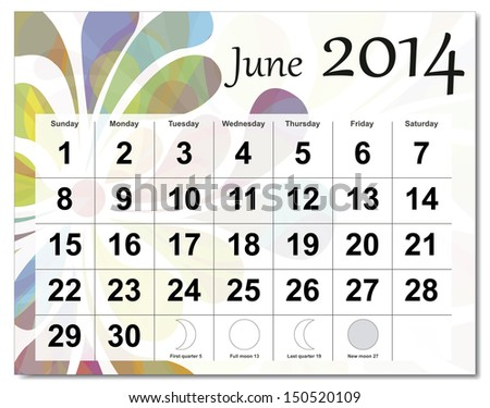 EPS10 vector file. June 2014 calendar. The EPS file includes the version in blue, green and black in different layers. Raster version available in my portfolio. - stock vector