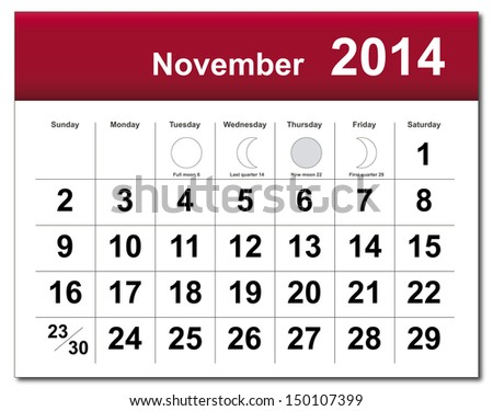 EPS10 vector file. November 2014 calendar. The EPS file includes the version in blue, green and black in different layers. Raster version available in my portfolio. - stock vector