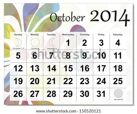EPS10 vector file. October 2014 calendar. The EPS file includes the version in blue, green and black in different layers. Raster version available in my portfolio. - stock vector