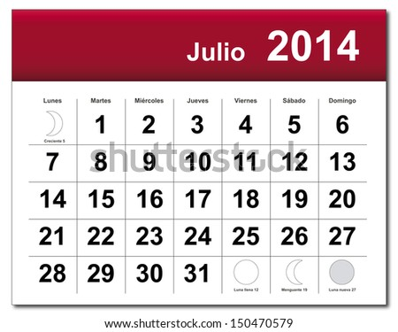 EPS10 vector file. Spanish version of July 2014 calendar. The EPS file includes the version in blue, green and black in different layers. Raster version available in my portfolio. - stock vector